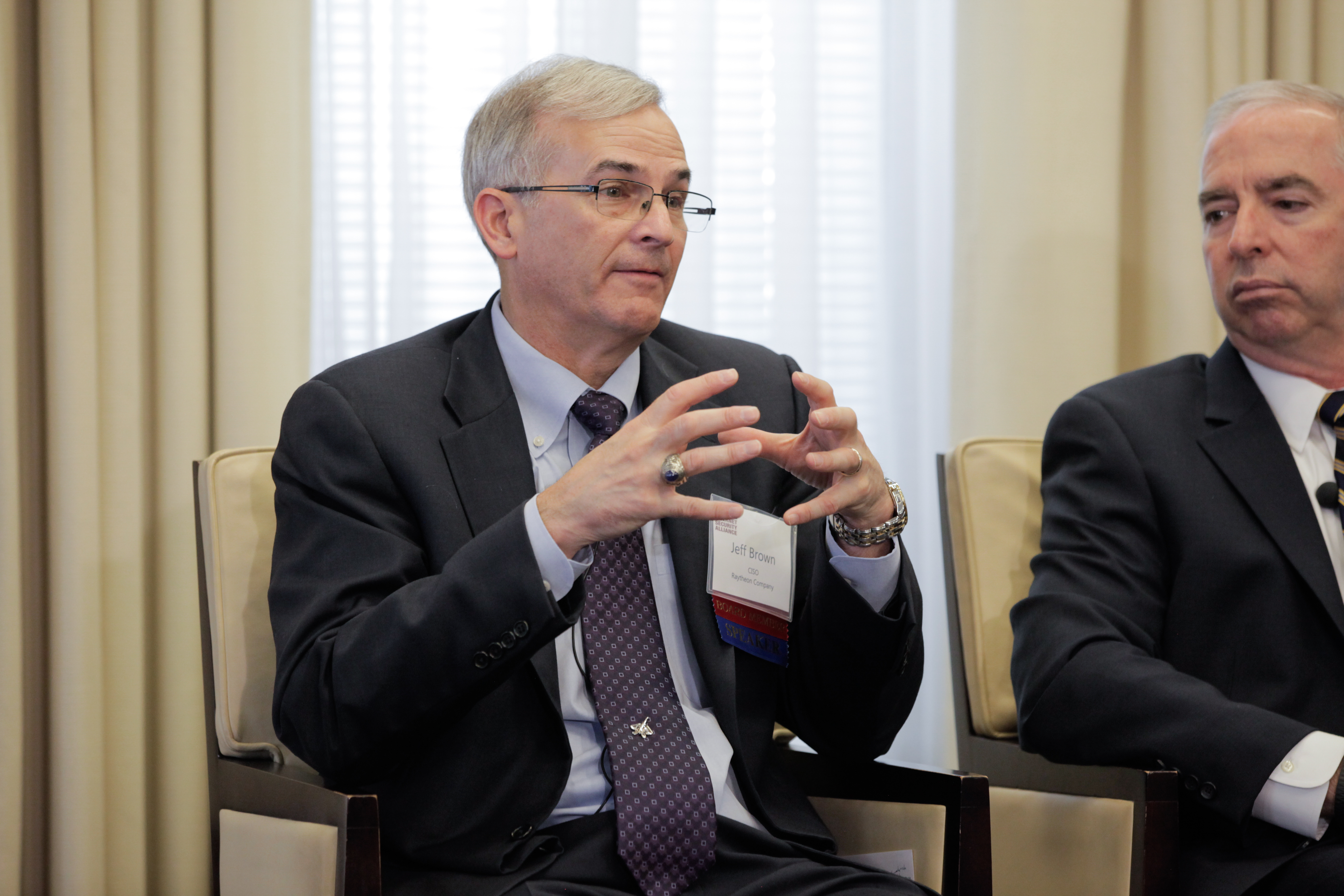 ISA board members Jeff Brown (Raytheon), at right, and Gary McALum (USAA), at left