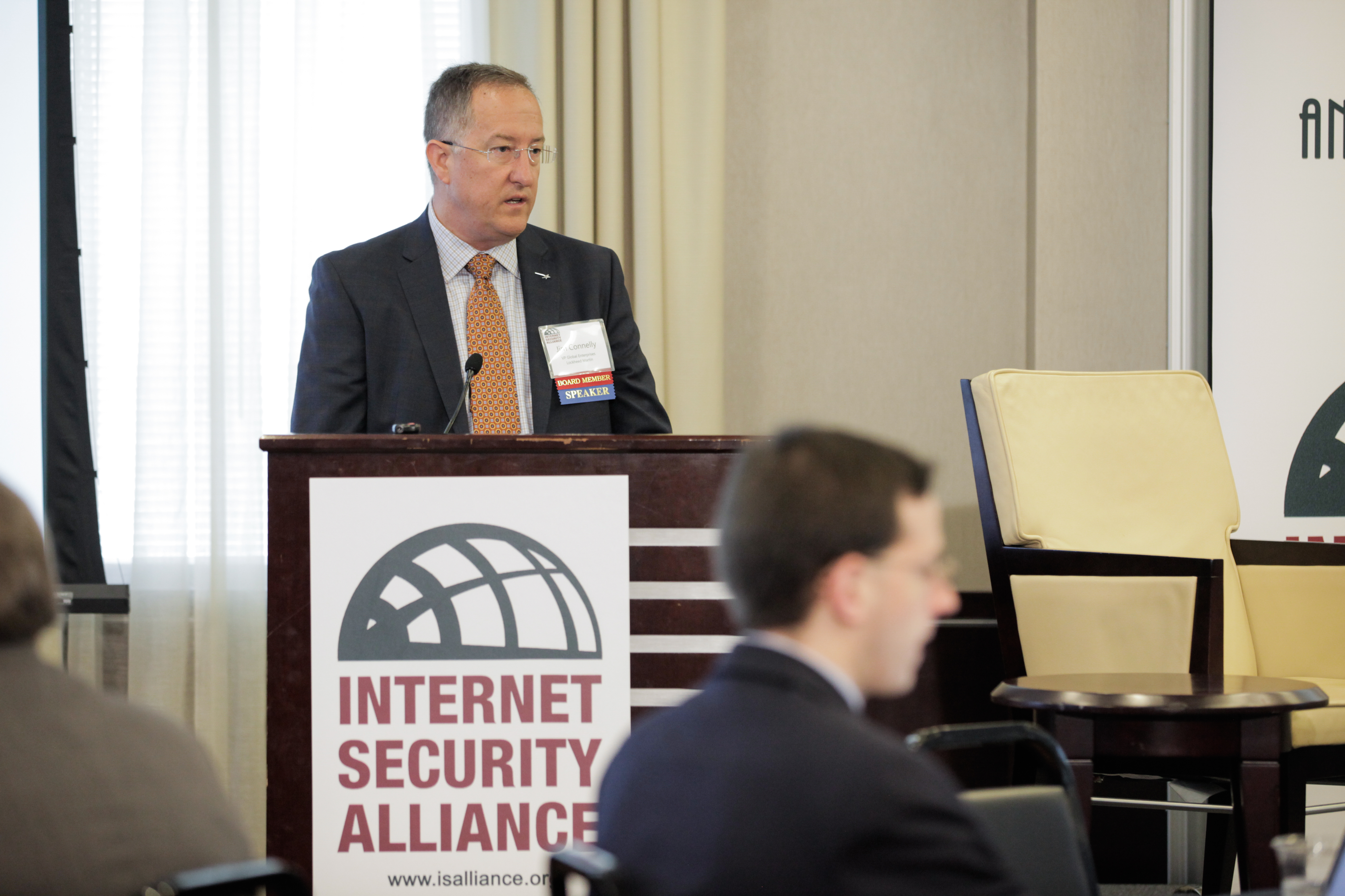 ISA board member Jim Connelly (Lockheed Martin) introduces a panel during the ISA 15th Anniversary Conference