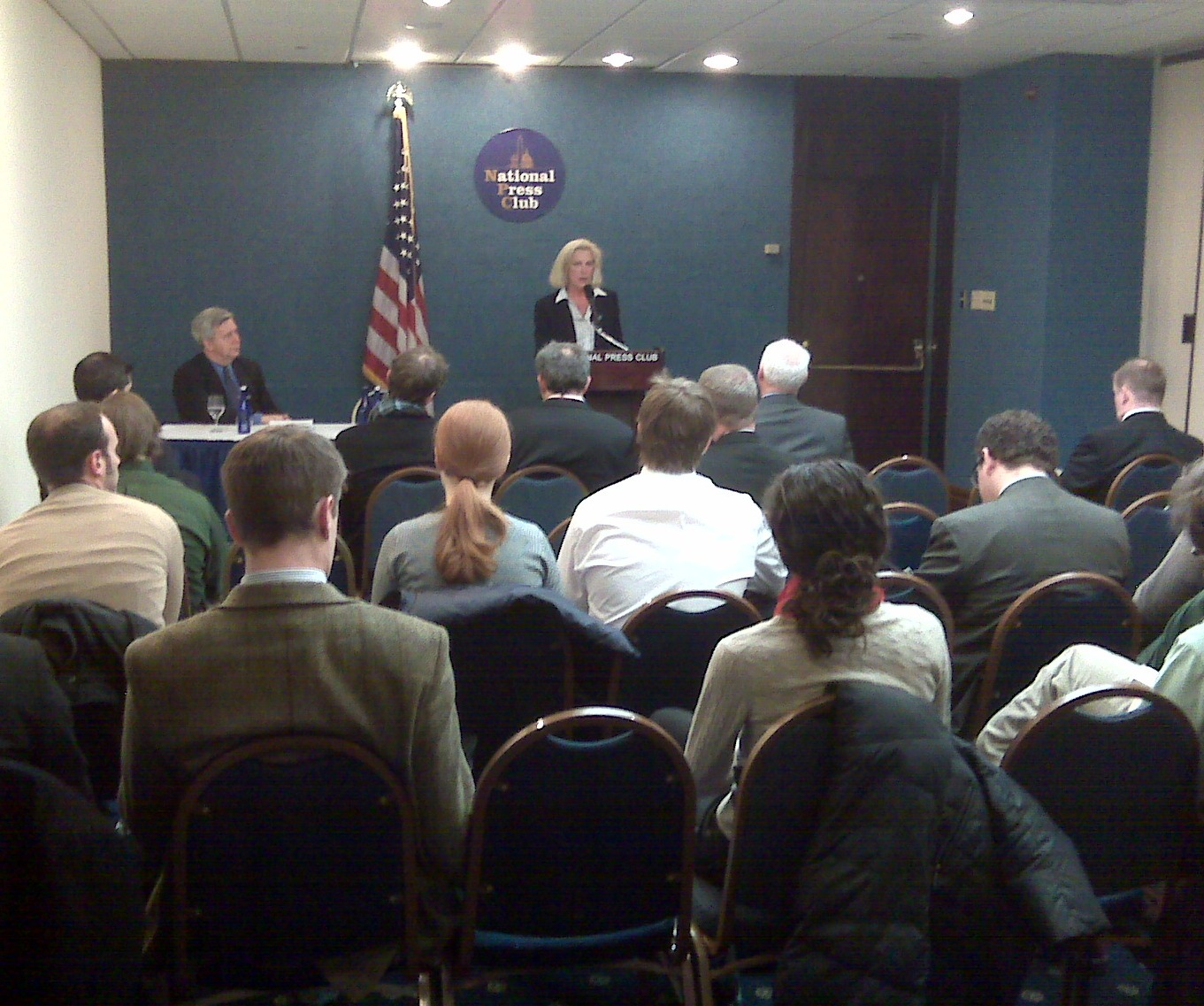 Melissa Hathaway, principal author of the Cyber Space Policy Review, accepts her McCurdy Award in 2010 during a press conference at the National Press Club.