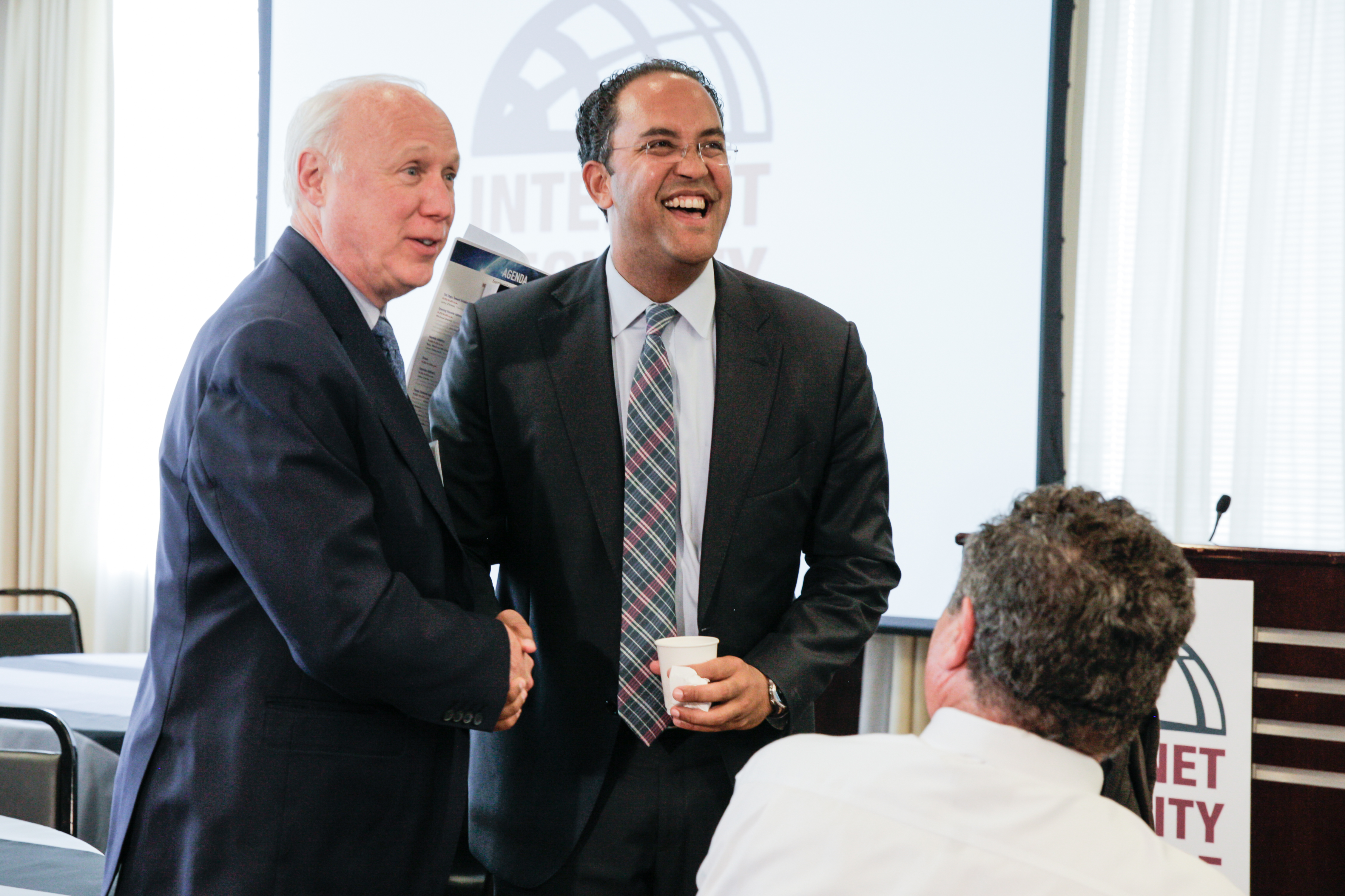 ISA President Larry Clinton (left) and Rep. Will Hurd (left) during the ISA 15th Anniversary Conference