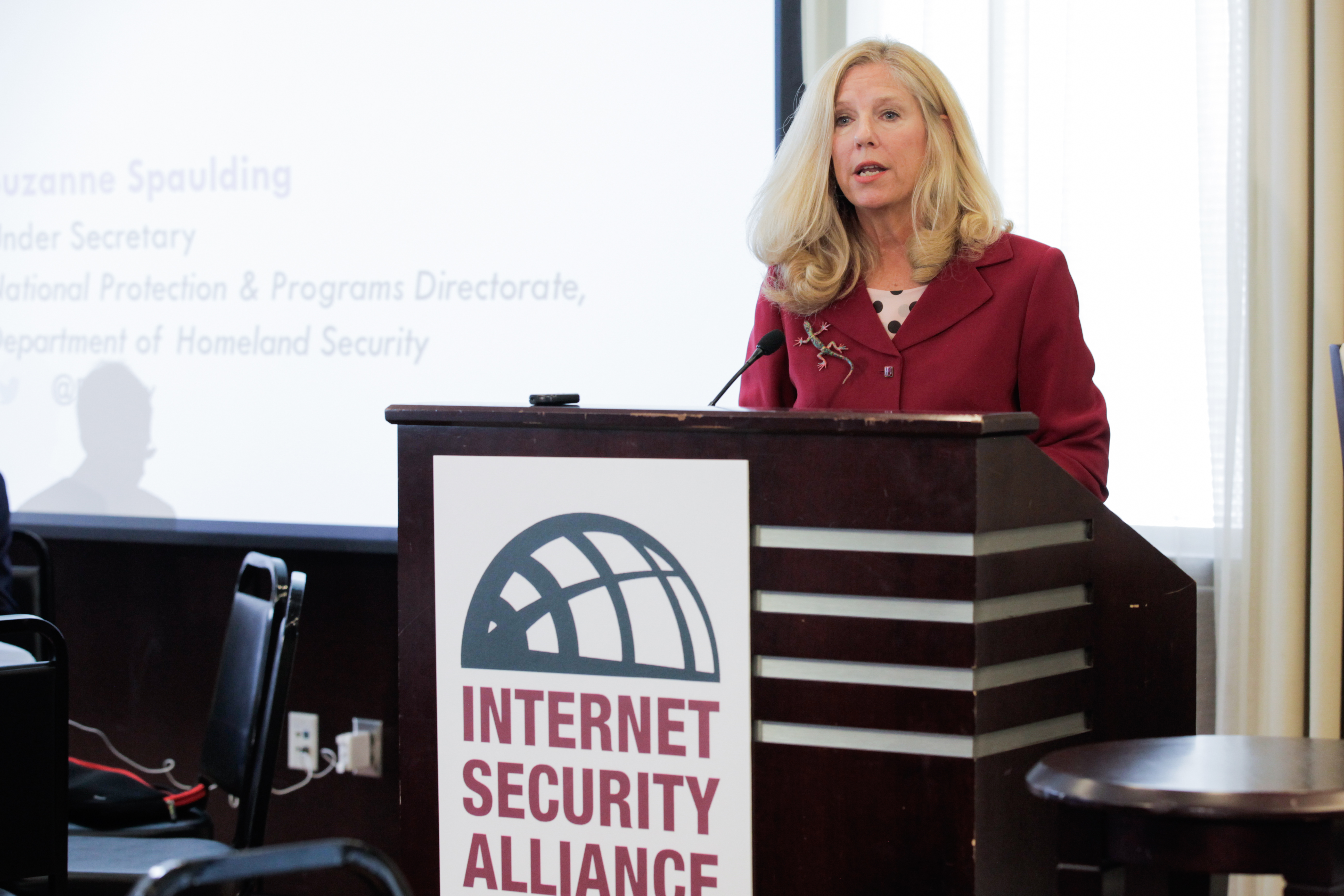 Suzanne Spaulding, Homeland Security Under Secretary for the National Protection and Programs Directorate at the podium during the ISA 15th Anniversary Conference