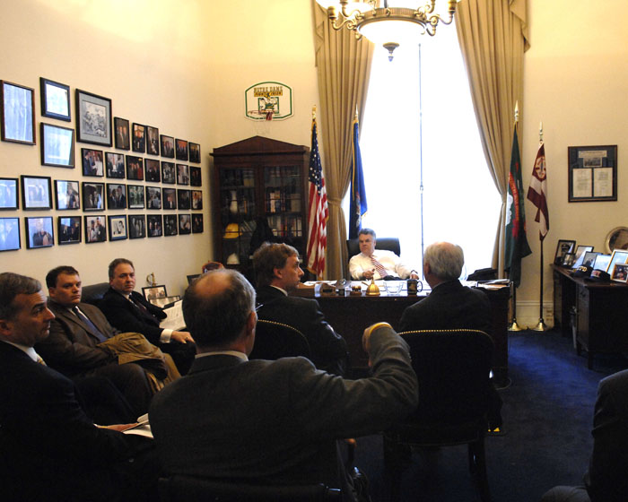 The ISA board briefs Rep Peter King (R-N.Y.) in 2012.
